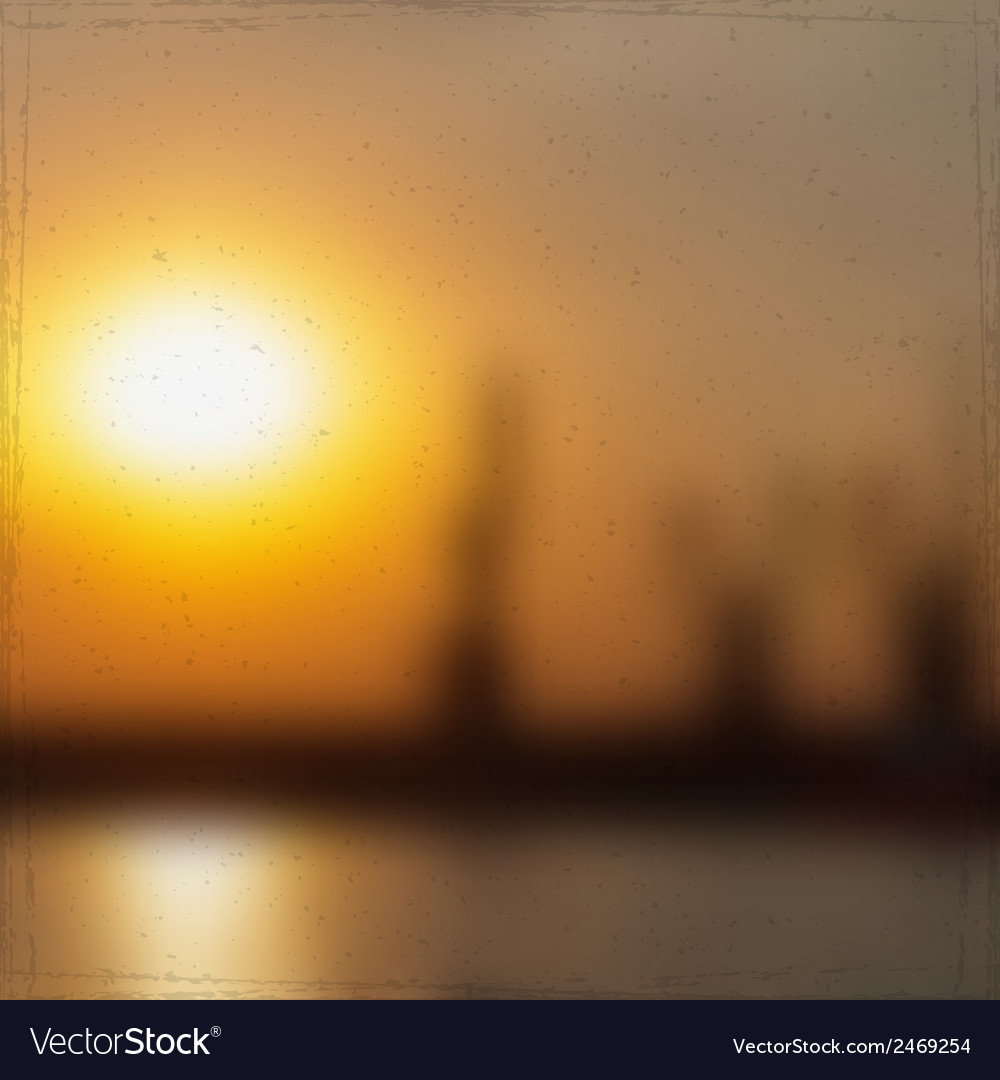 Sunset in seaport vector   Price: 1 Credit (USD $1)