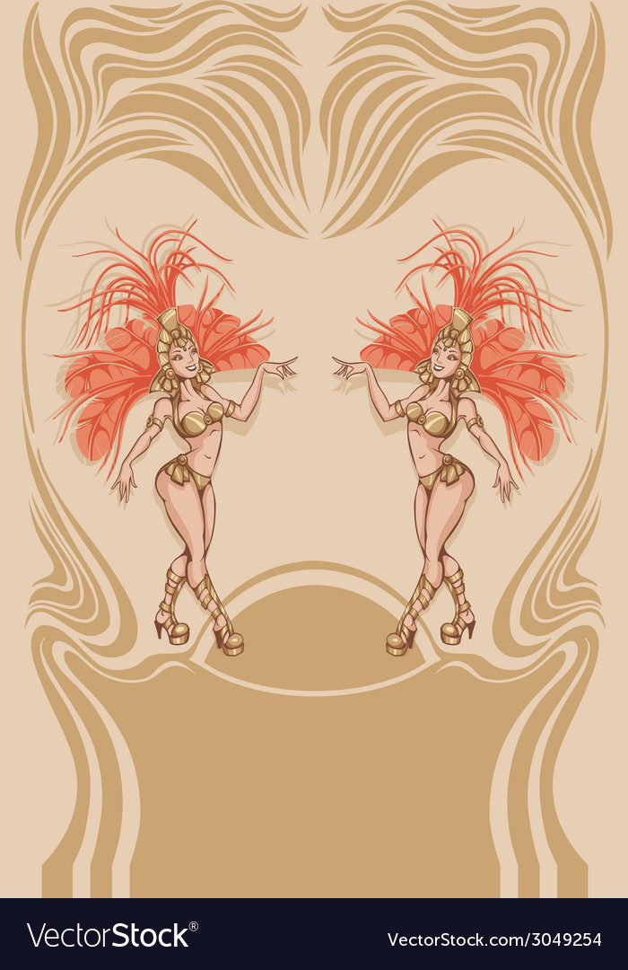 Vintage affiche with attractive samba queen vector | Price: 1 Credit (USD $1)