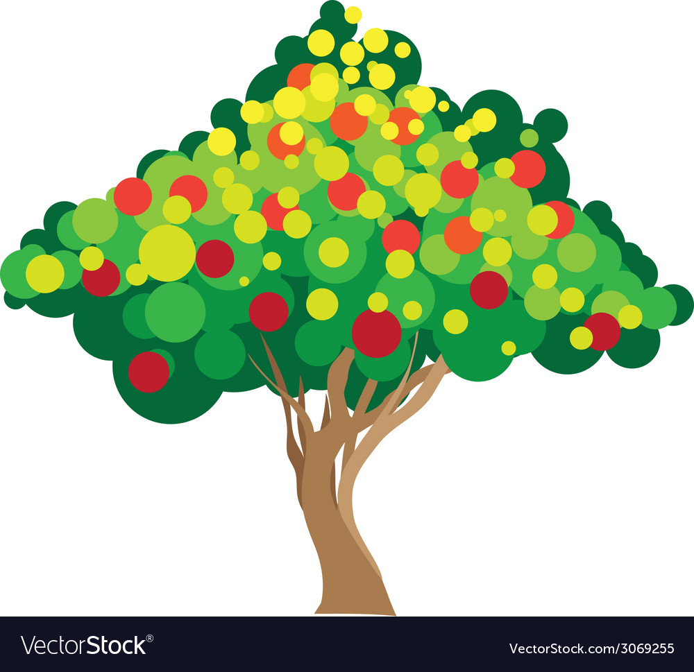 Apple tree on white background vector | Price: 1 Credit (USD $1)