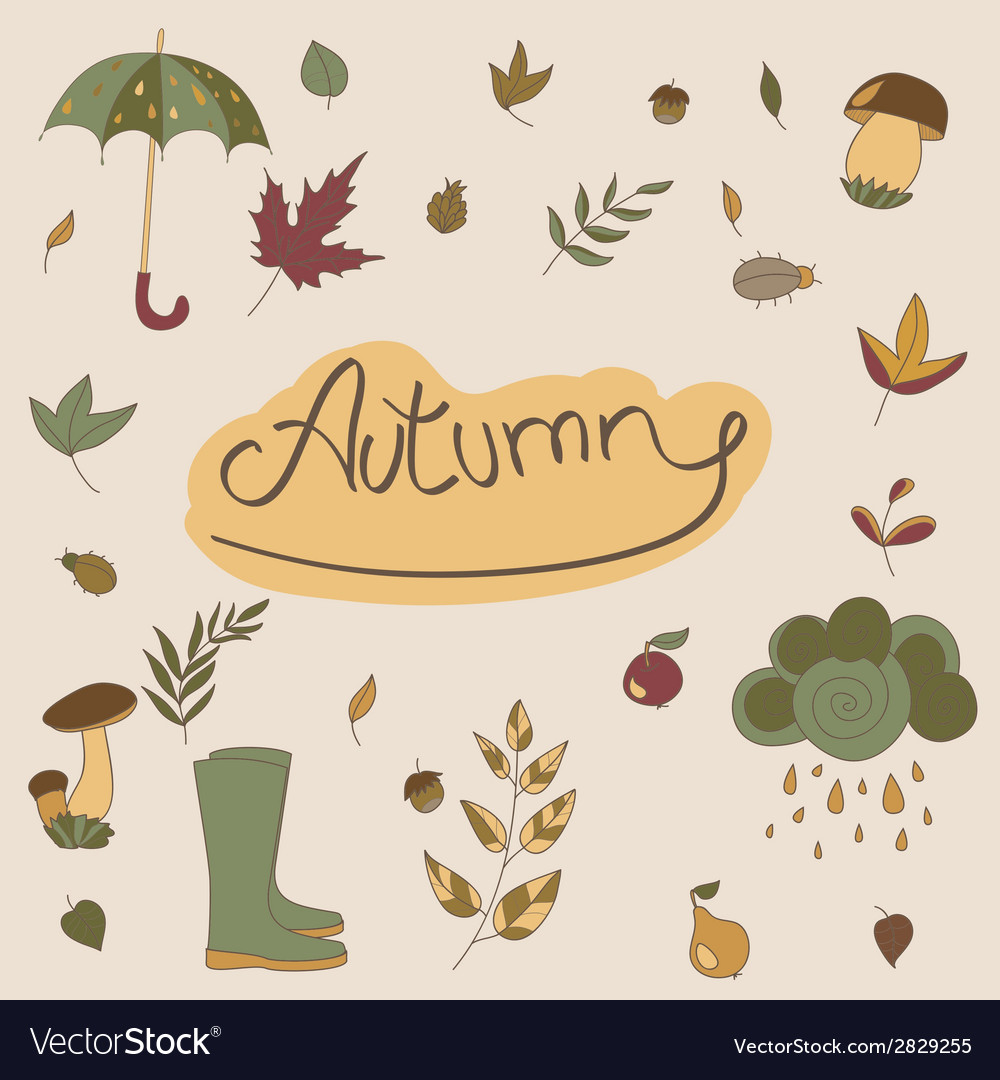 Autumn objects seasonal objects vector | Price: 1 Credit (USD $1)