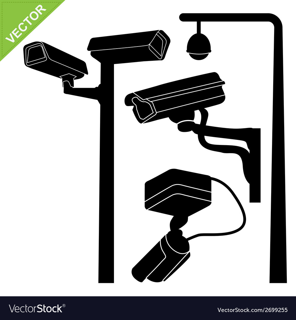 Cctv camera silhouettes vector | Price: 1 Credit (USD $1)
