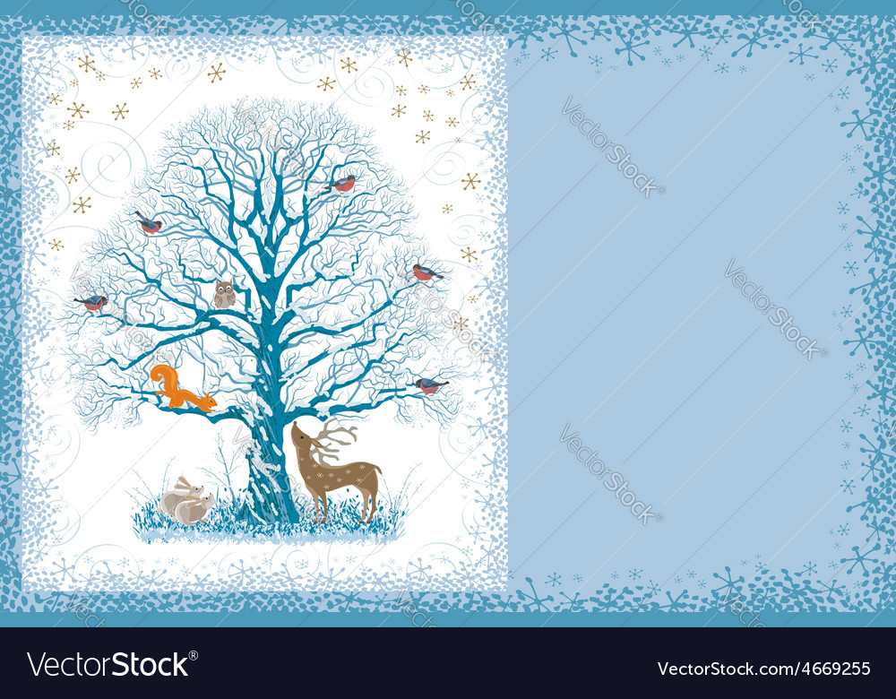 Christmas card with tree vector   Price: 1 Credit (USD $1)