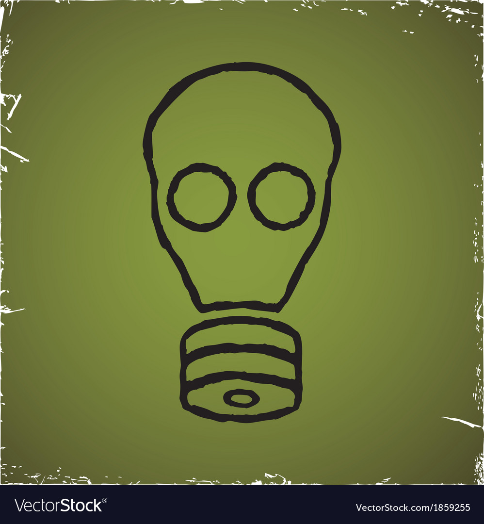 Gas mask on old scratched background vector | Price: 1 Credit (USD $1)