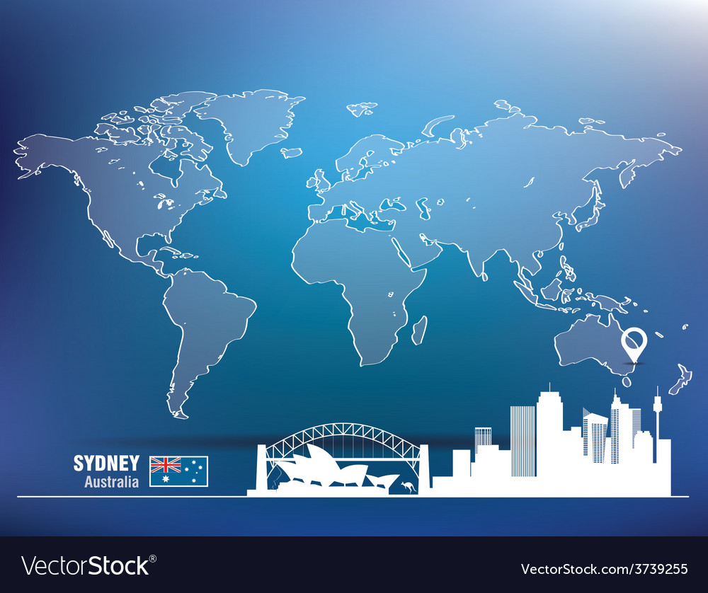 Map pin with sydney skyline vector | Price: 1 Credit (USD $1)