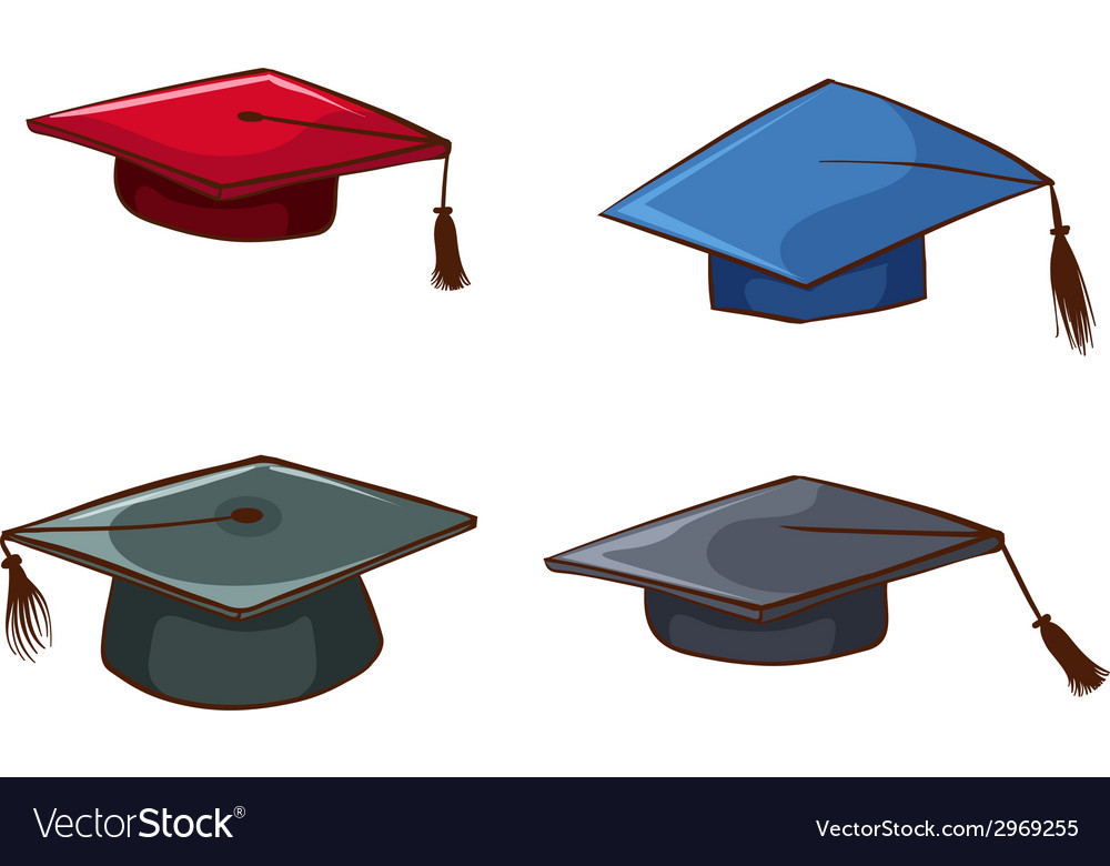 Simple sketches of graduation caps vector