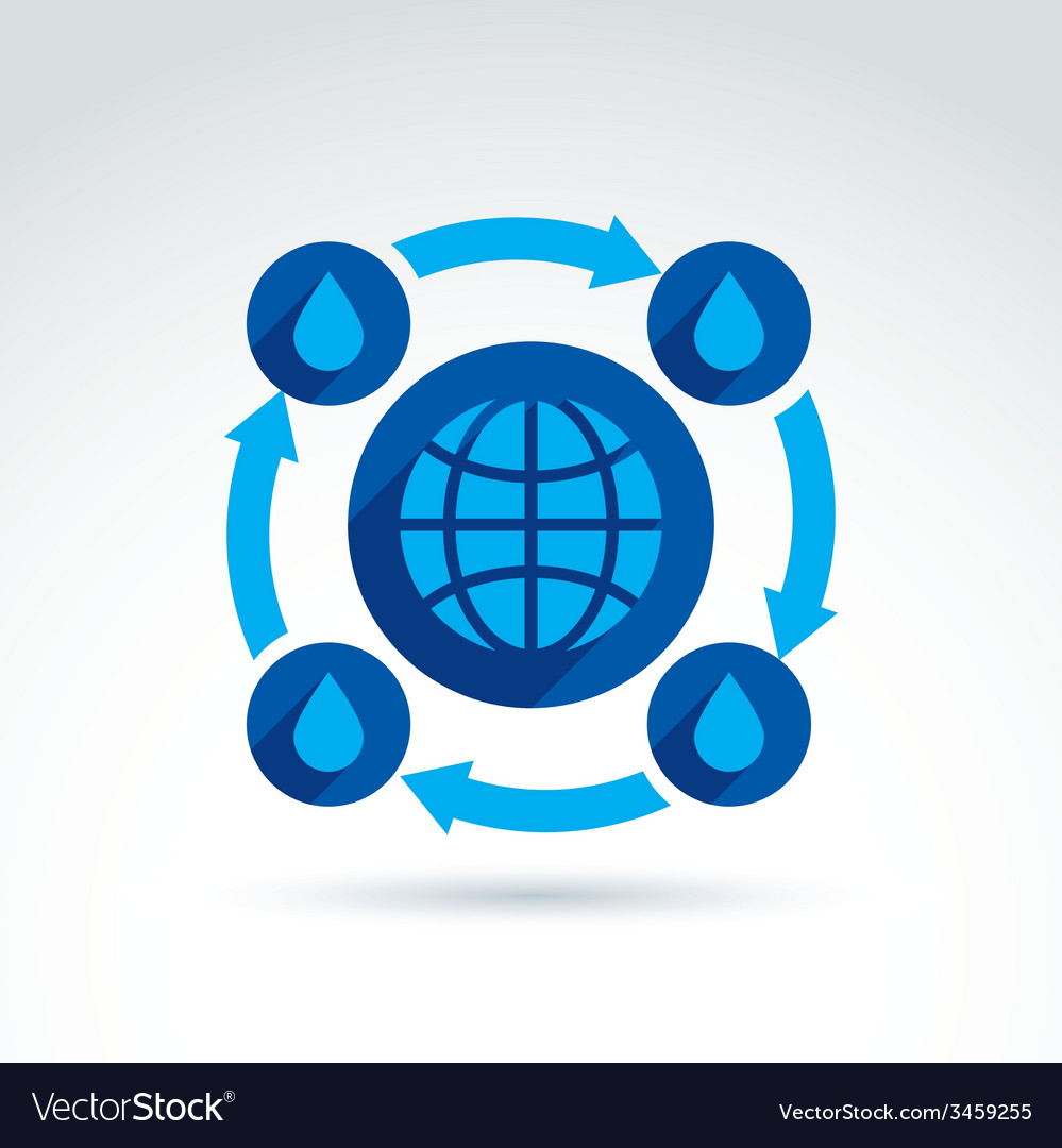 Water circulation around the globe icon conceptual vector | Price: 1 Credit (USD $1)