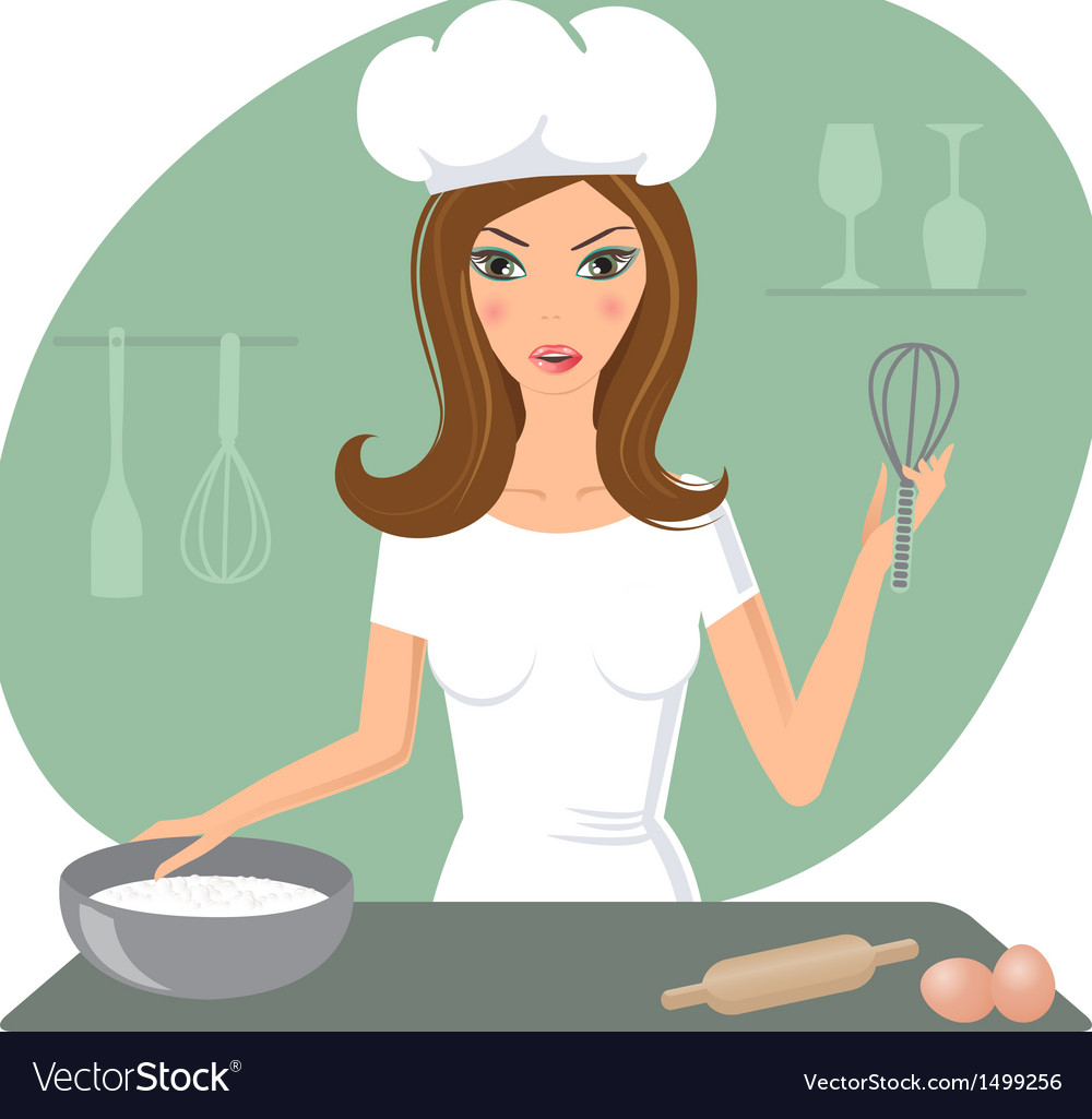 A happy very busy multitasking housewife vector | Price: 1 Credit (USD $1)