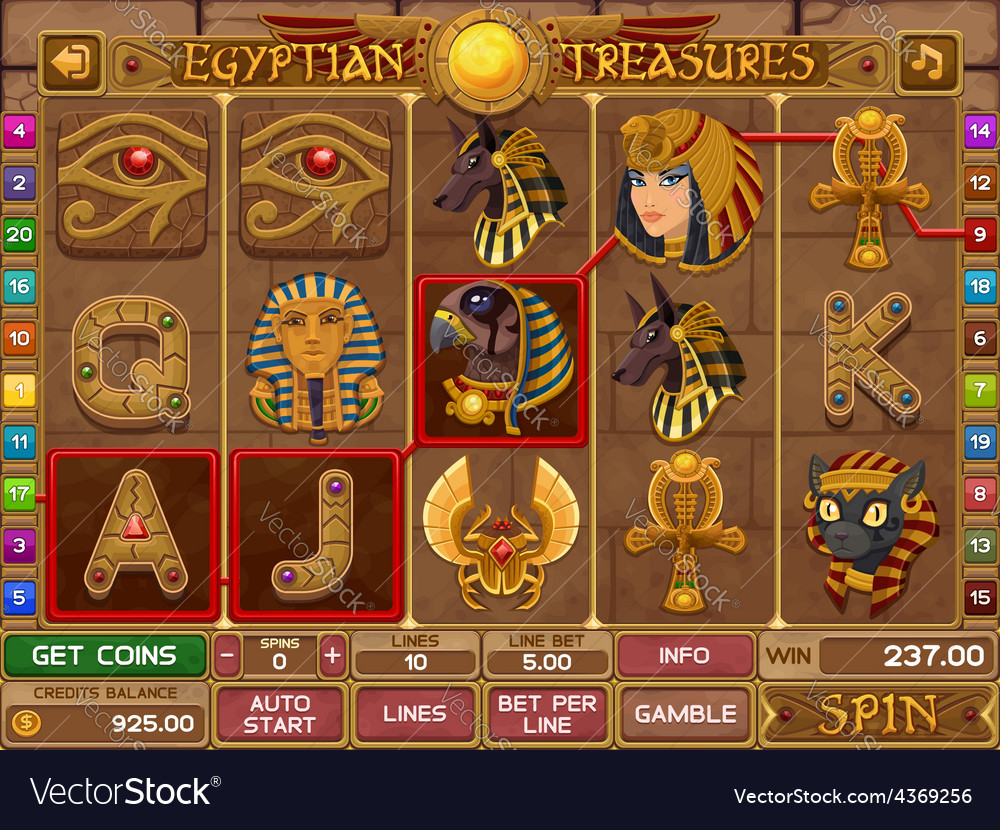 Egyptian slots game vector | Price: 3 Credit (USD $3)