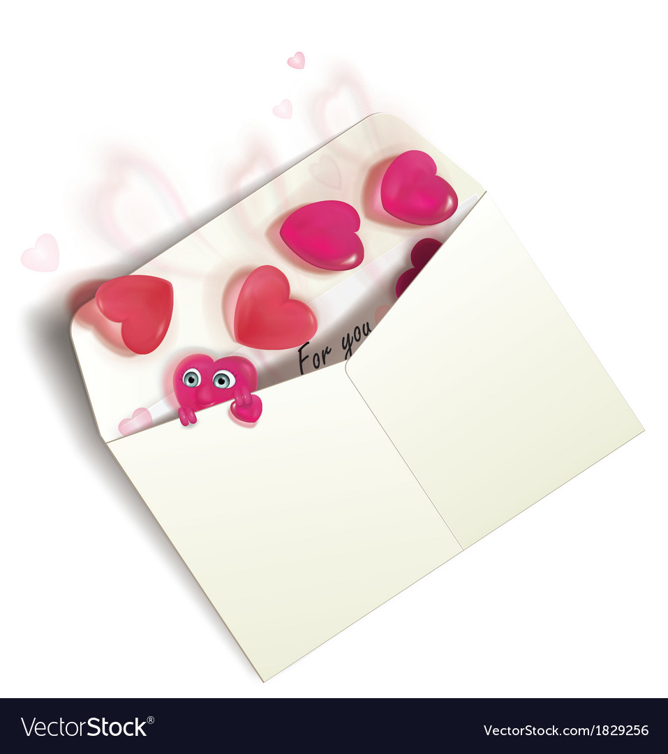 Envelope with hearts vector | Price: 1 Credit (USD $1)