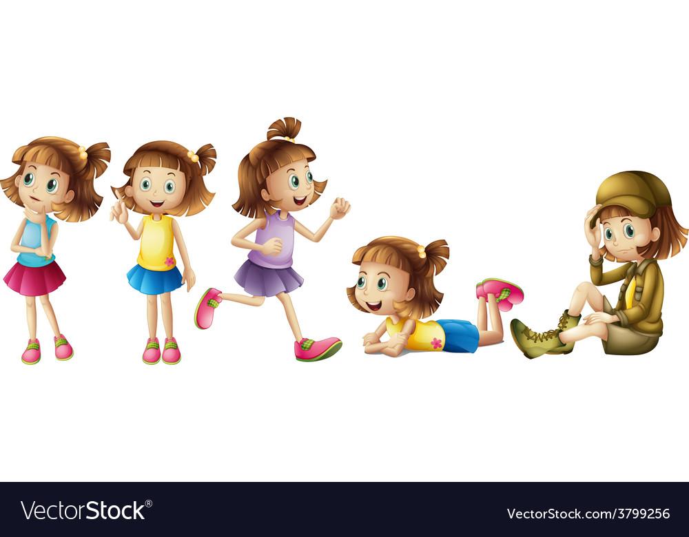 Five adorable kids vector | Price: 1 Credit (USD $1)