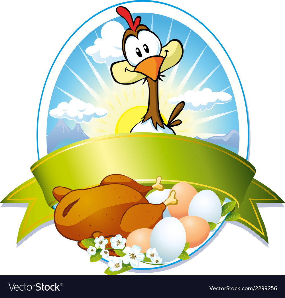 Funny label with hen and eggs vector   Price: 1 Credit (USD $1)