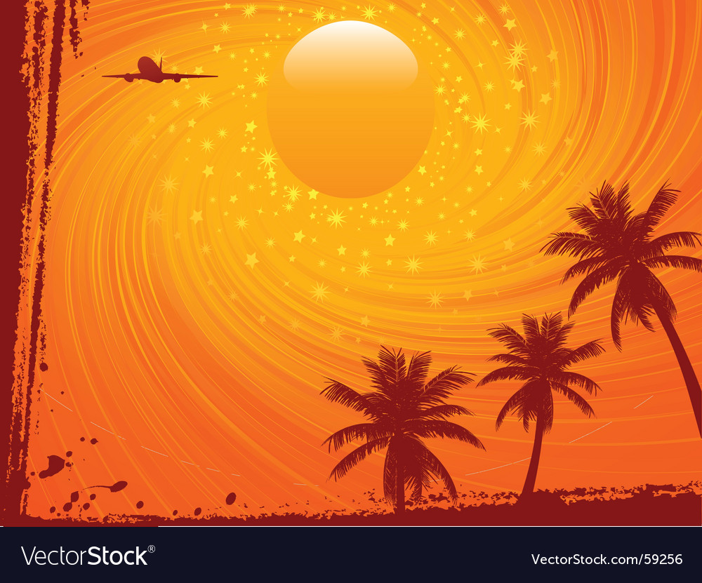 Grunge summer sunset and plane vector | Price: 1 Credit (USD $1)