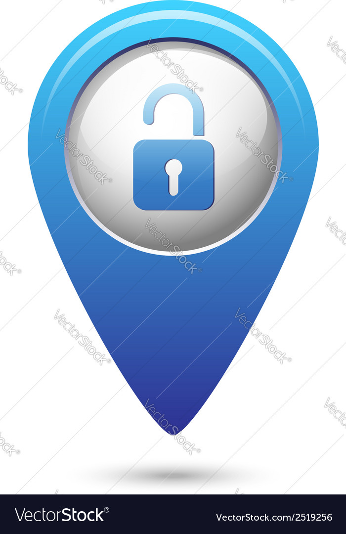Map pointer with open lock icon vector | Price: 1 Credit (USD $1)