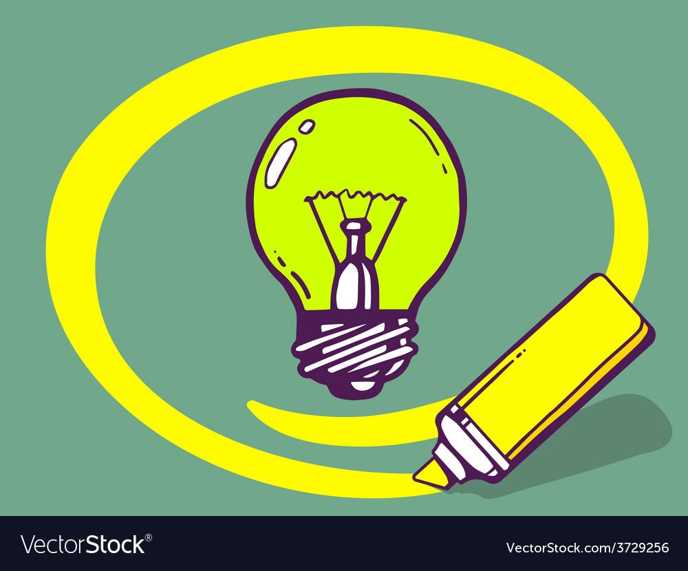 Marker drawing circle around bulb light o vector | Price: 1 Credit (USD $1)