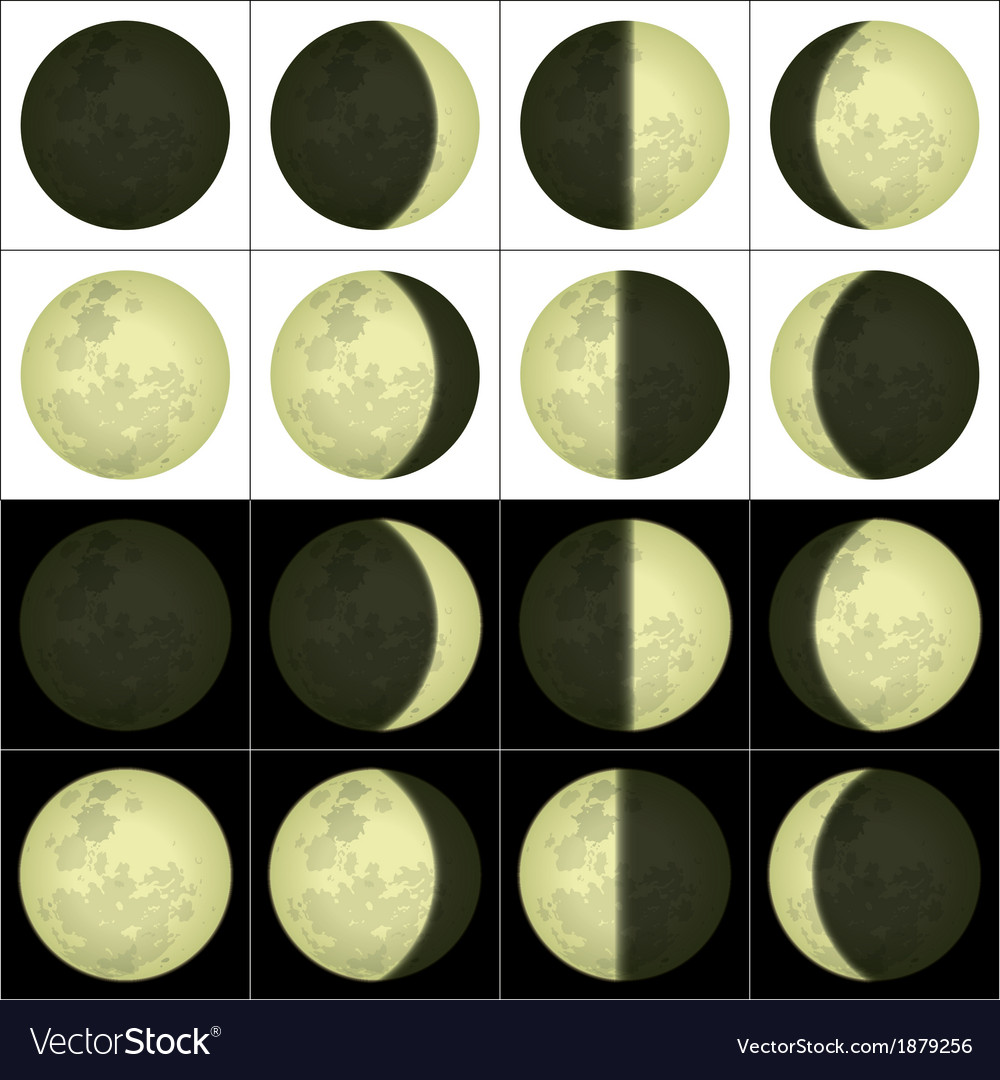 Moon phases set vector | Price: 1 Credit (USD $1)