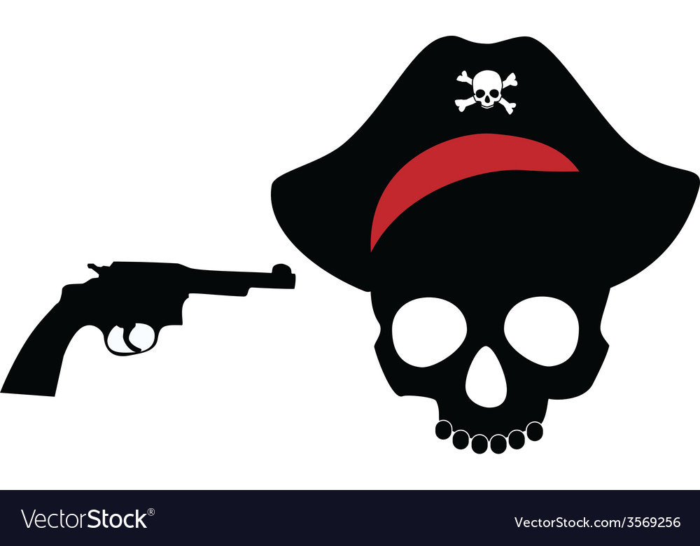 Pirate skull with revolver vector | Price: 1 Credit (USD $1)