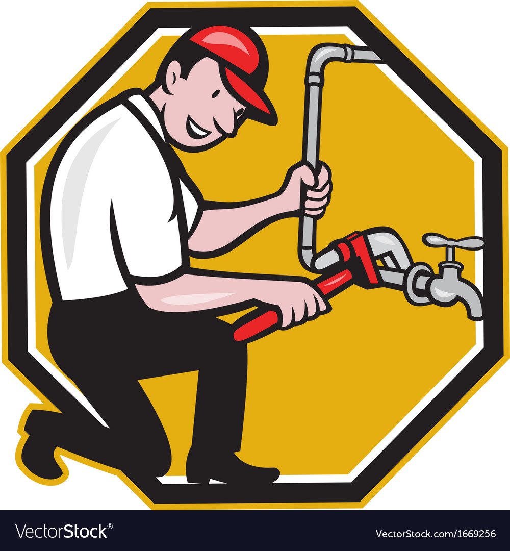 Plumber repair faucet tap cartoon vector | Price: 1 Credit (USD $1)