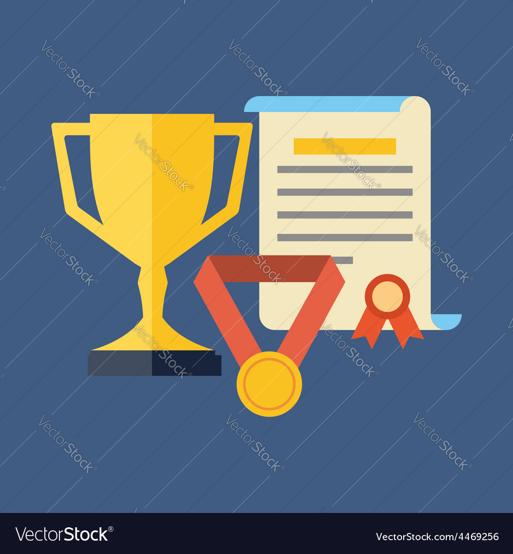 Rewards achievements awards concept flat design vector | Price: 1 Credit (USD $1)