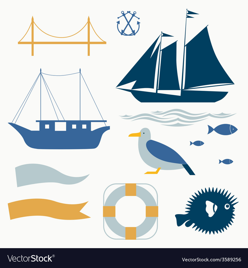 Sea voyage icons set vector | Price: 1 Credit (USD $1)