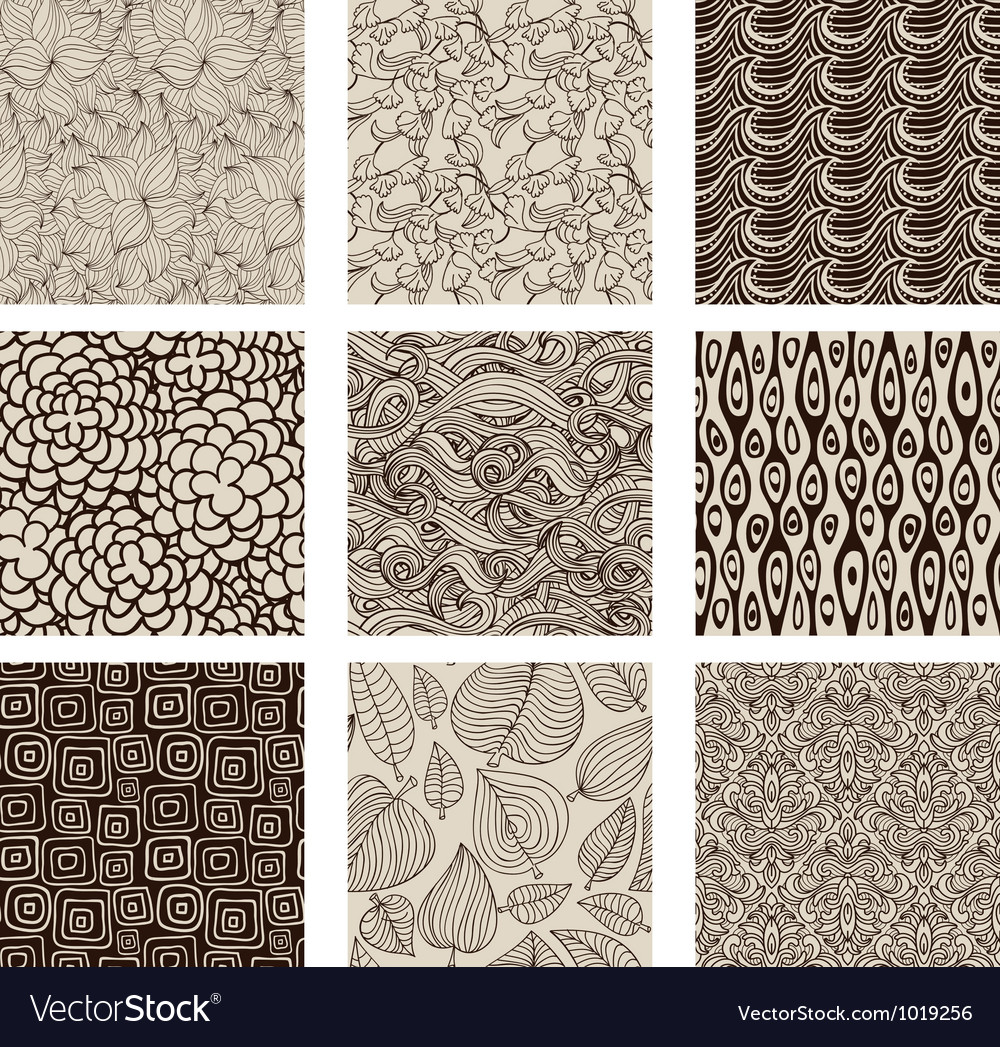 Set of abstract seamless patterns black and white vector | Price: 1 Credit (USD $1)