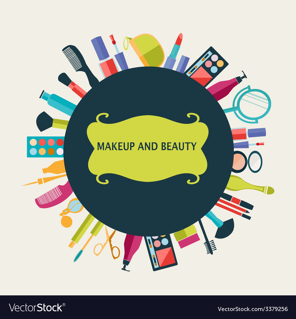 Set of makeup and beauty elements pattern vector | Price: 1 Credit (USD $1)