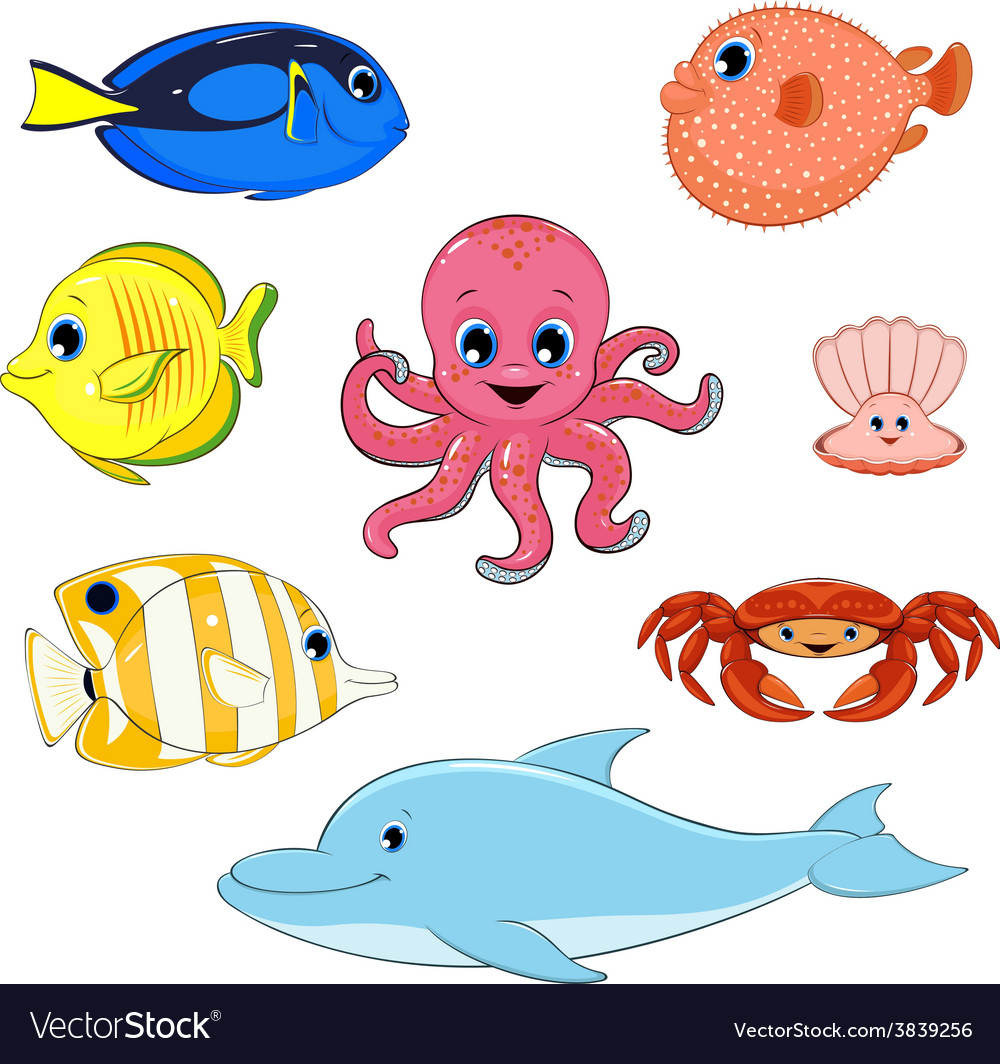 Set of marine animals vector | Price: 3 Credit (USD $3)