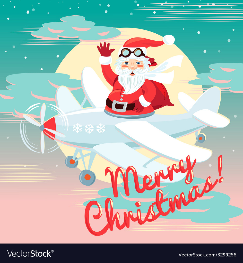 Waving santa claus flying on the plane with sack vector   Price: 1 Credit (USD $1)