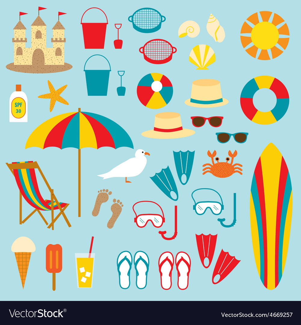 Beach clipart vector | Price: 1 Credit (USD $1)