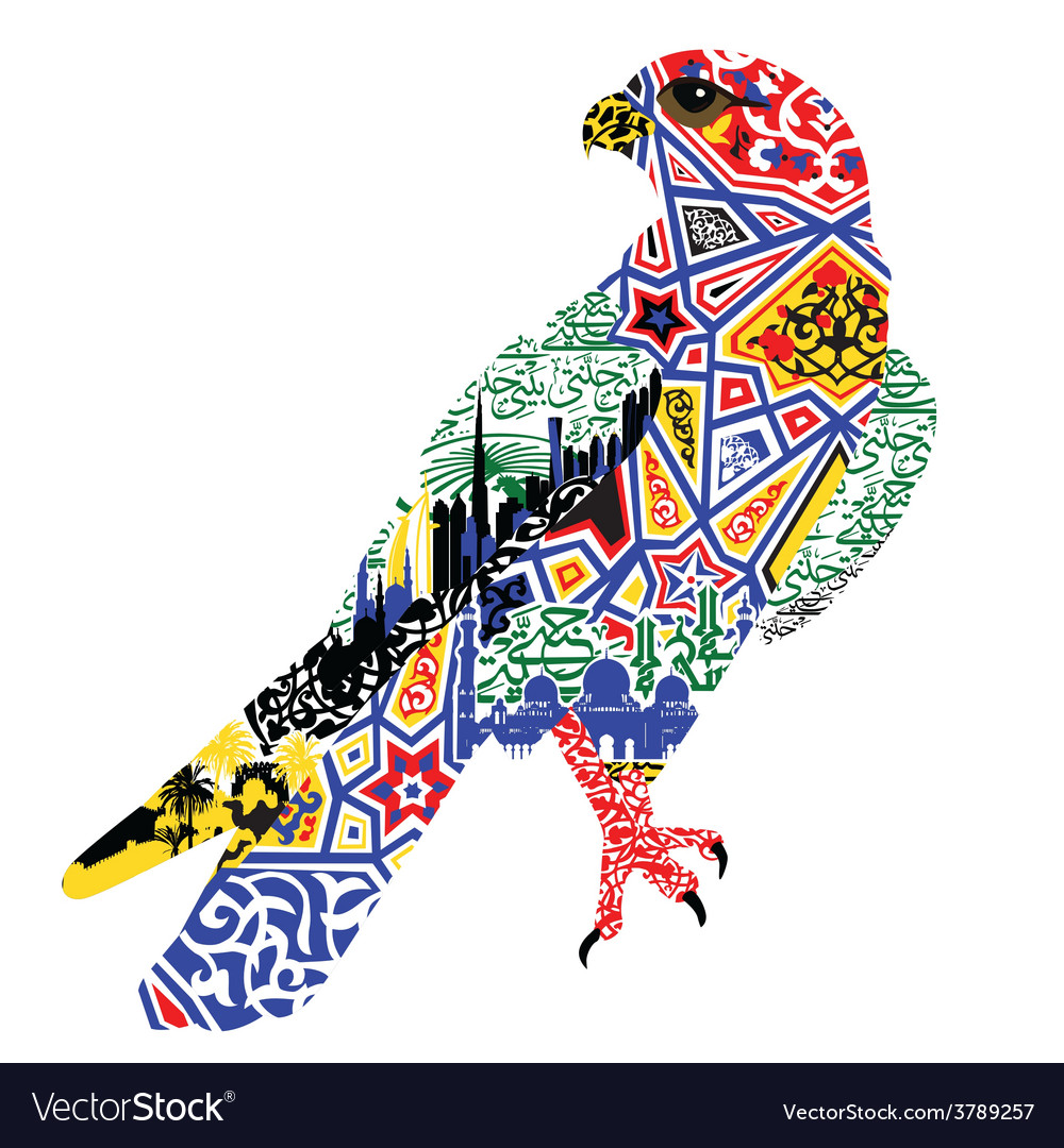 Bird patterns and miniatures symbolizing uae vector | Price: 1 Credit (USD $1)
