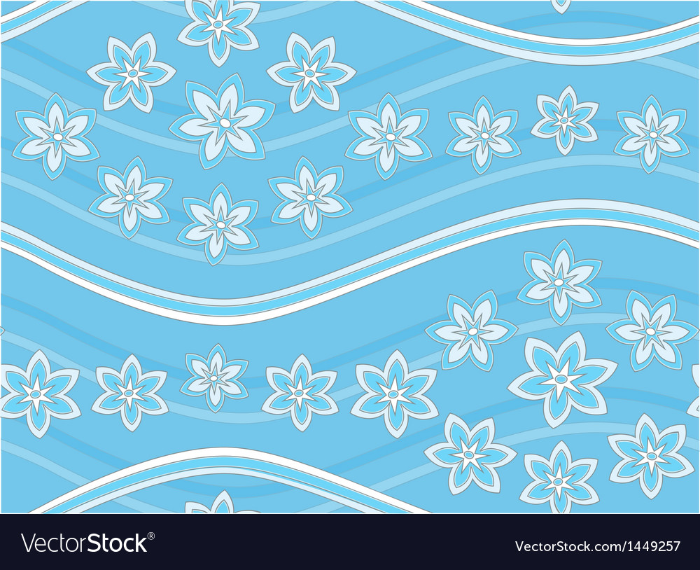 Blue floral seamless pattern with waves vector | Price: 1 Credit (USD $1)