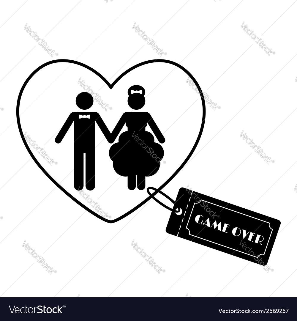 Cartoon funny wedding symbols - game over vector | Price: 1 Credit (USD $1)