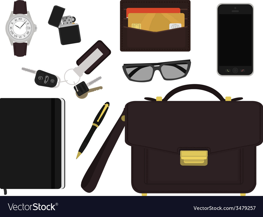 Every day carry businessman items no outlines vector | Price: 1 Credit (USD $1)