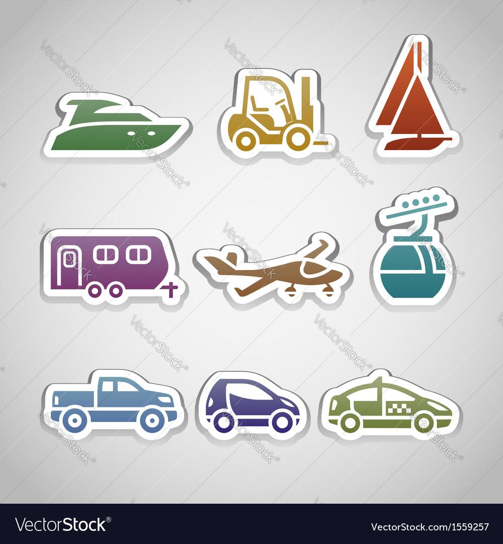 Flat retro color stickers - set nine vector | Price: 1 Credit (USD $1)