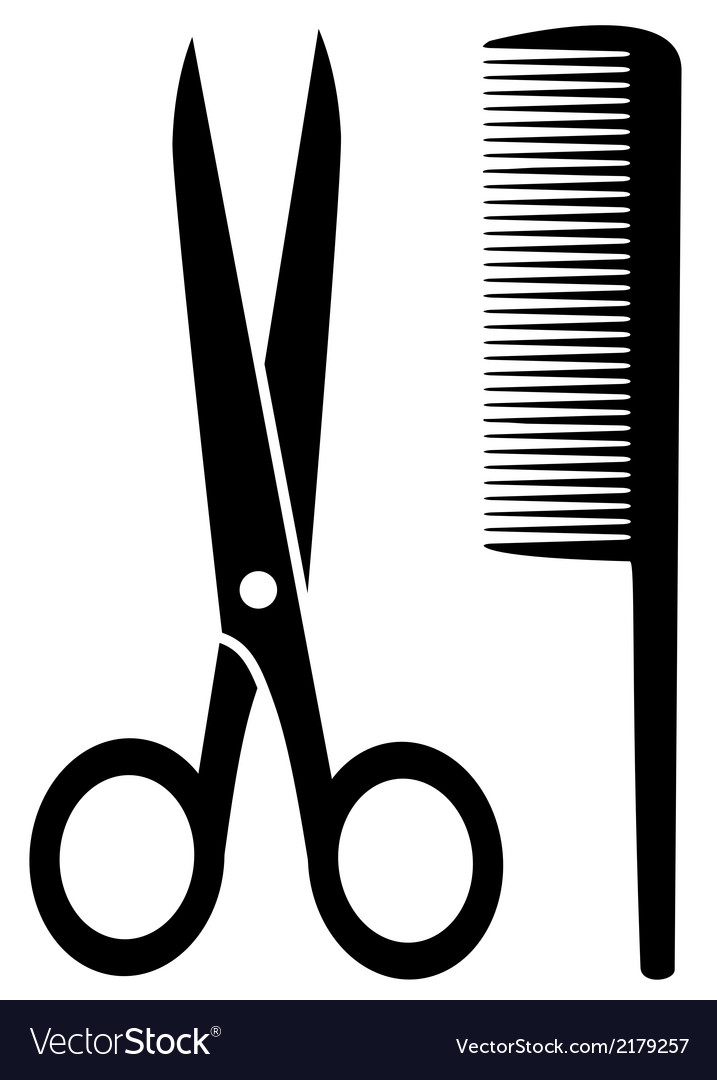 Isolated comb and scissors vector | Price: 1 Credit (USD $1)