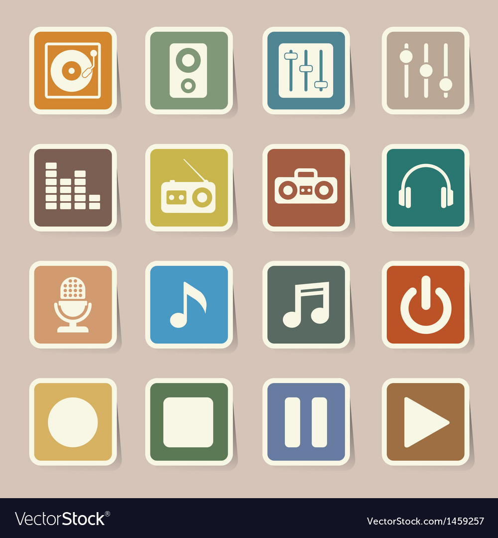 Music icon set eps10 vector | Price: 1 Credit (USD $1)