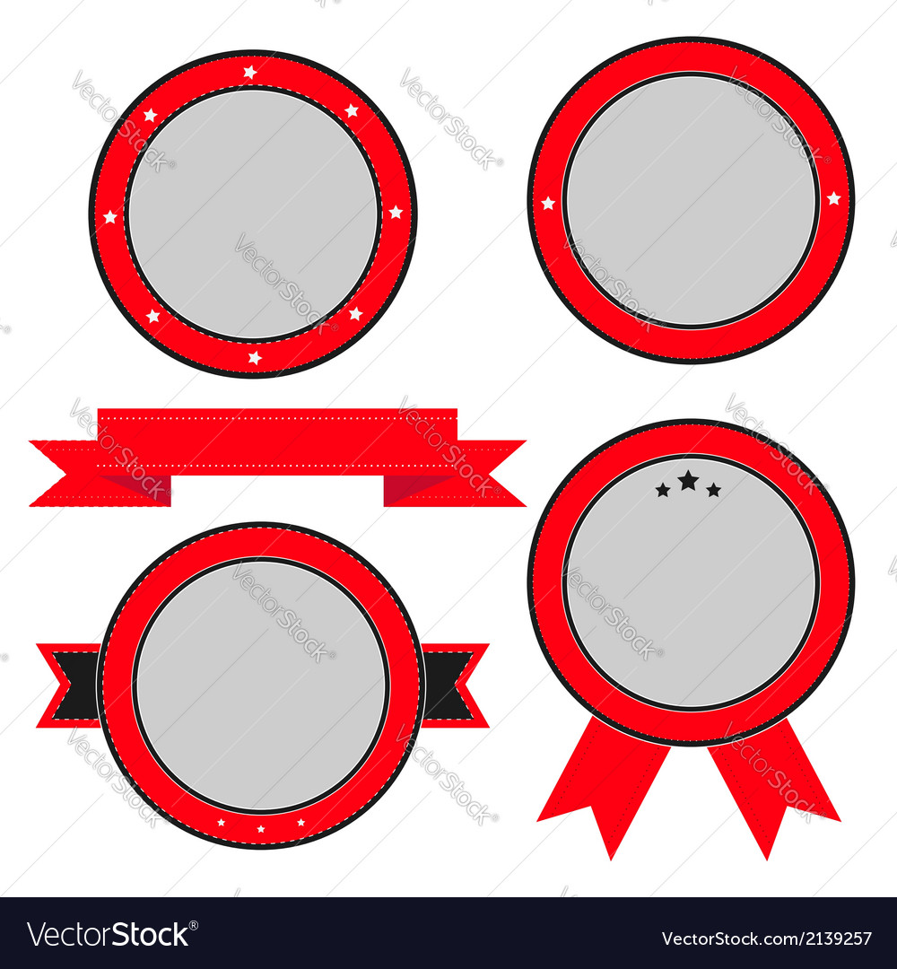Red badge and label set with ribbon and stars vector | Price: 1 Credit (USD $1)