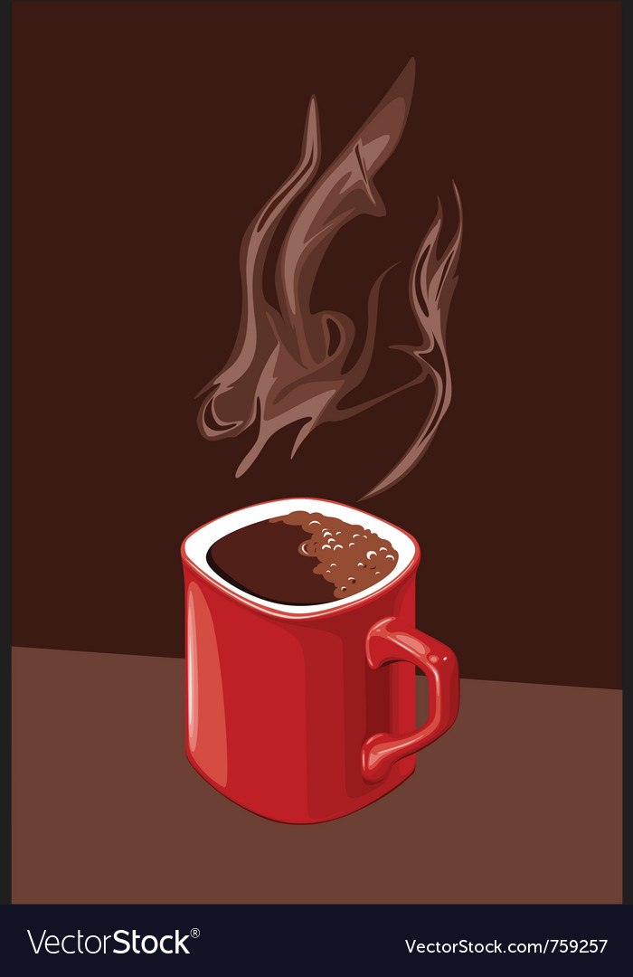 Red cup of coffee with aroma of ascending vector | Price: 3 Credit (USD $3)