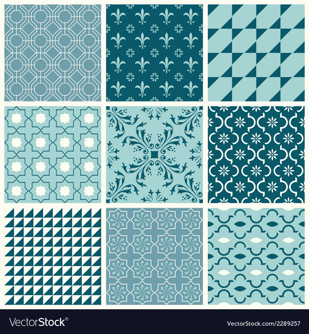 Seamless backgrounds collection - vintage tile vector | Price: 1 Credit (USD $1)