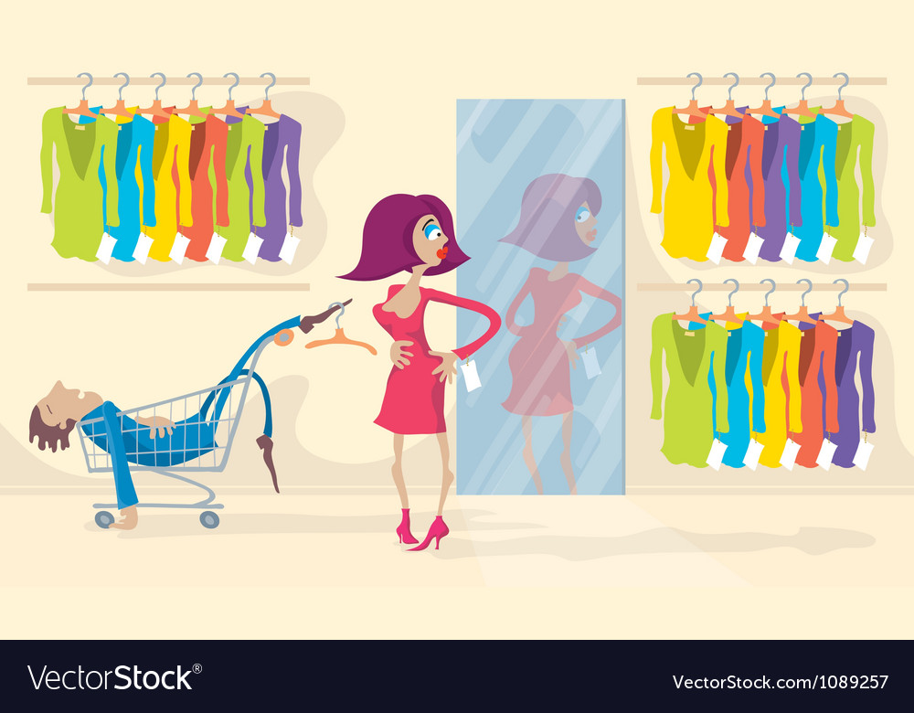 Woman trying on red dress vector | Price: 1 Credit (USD $1)