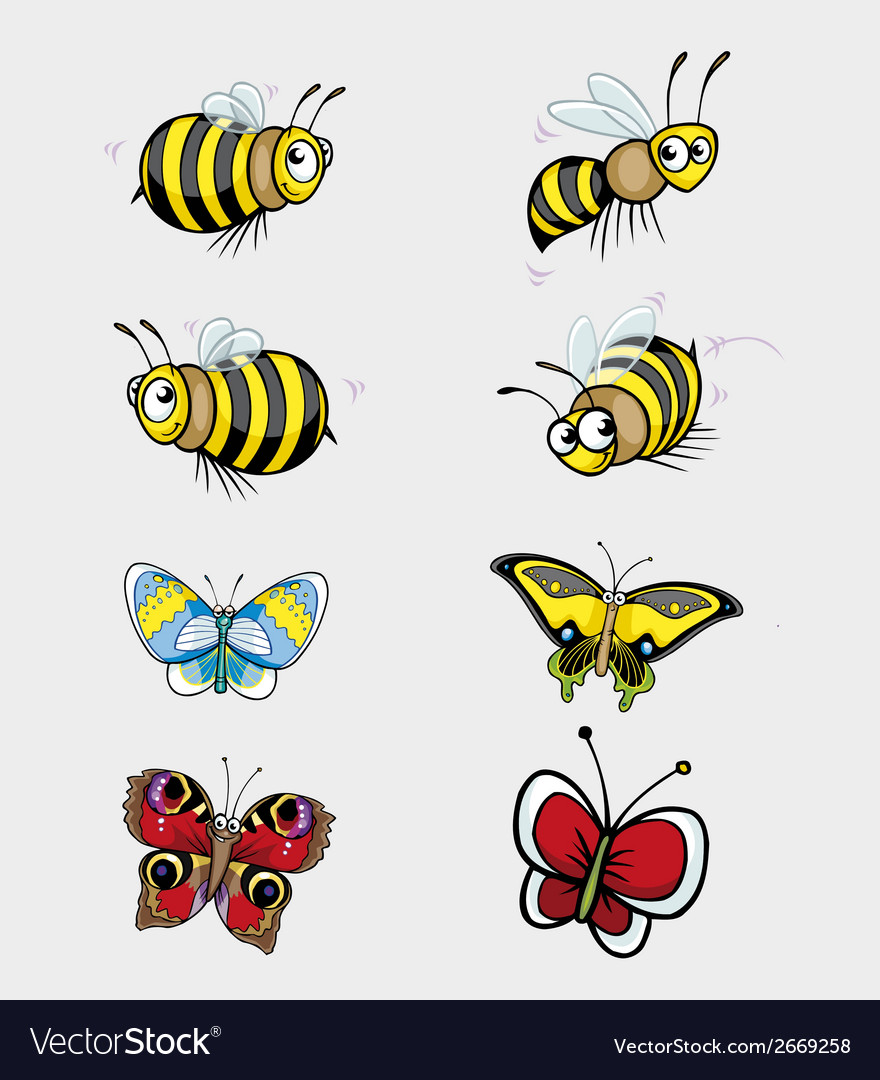 Butterfly and bee collection vector | Price: 1 Credit (USD $1)