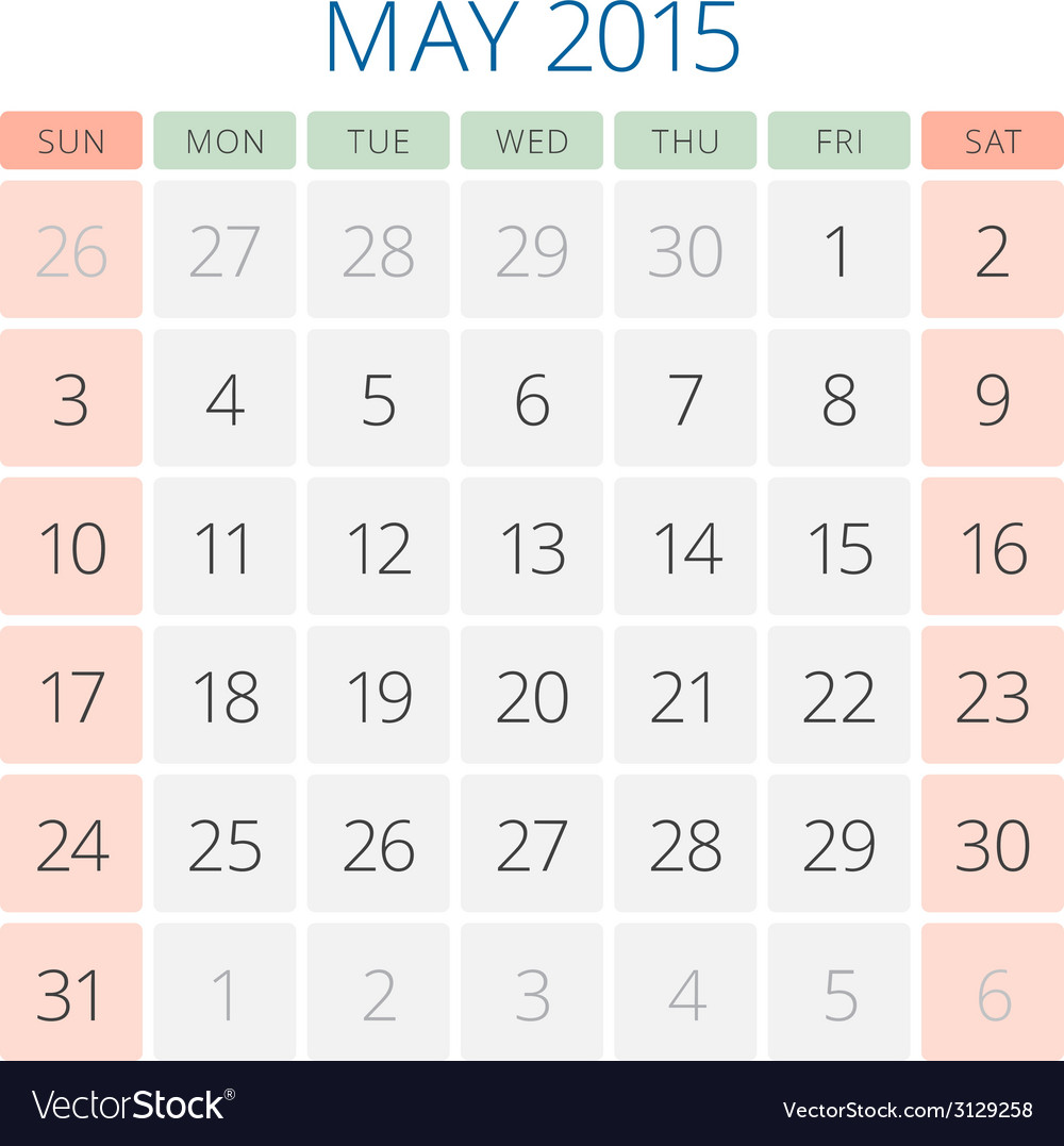 Calendar 2015 may design template vector | Price: 1 Credit (USD $1)