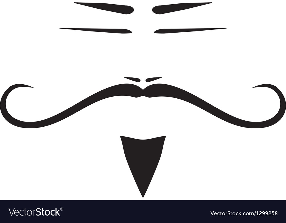 Chinese old man face with long mustache vector | Price: 1 Credit (USD $1)