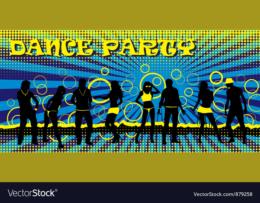 Dance party ticket blue vector | Price: 1 Credit (USD $1)