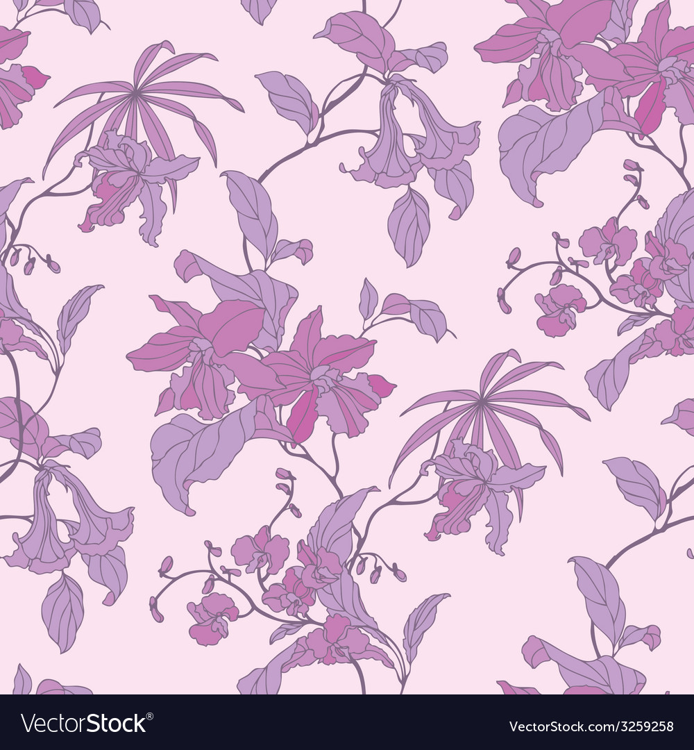 Elegance seamless pattern with flowers flo vector | Price: 1 Credit (USD $1)