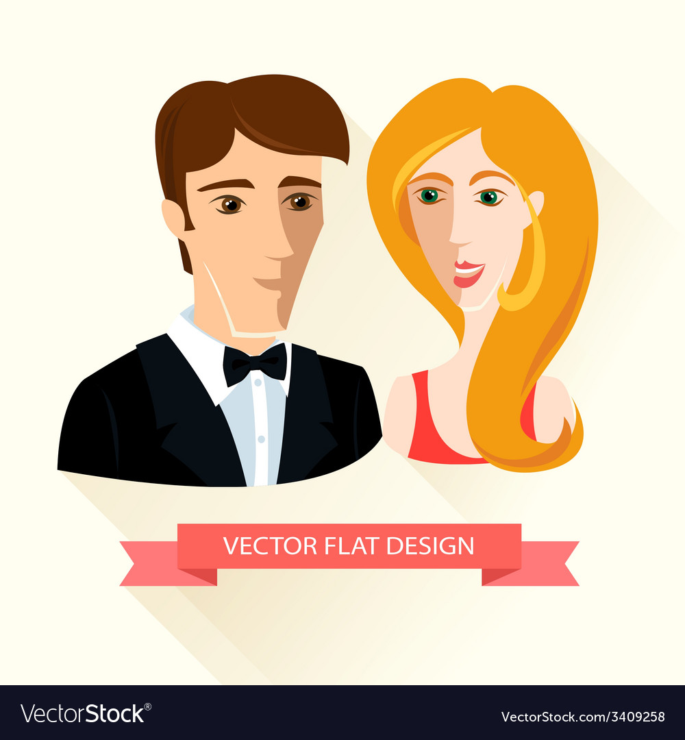 Festively dressed couple flat design vector | Price: 1 Credit (USD $1)