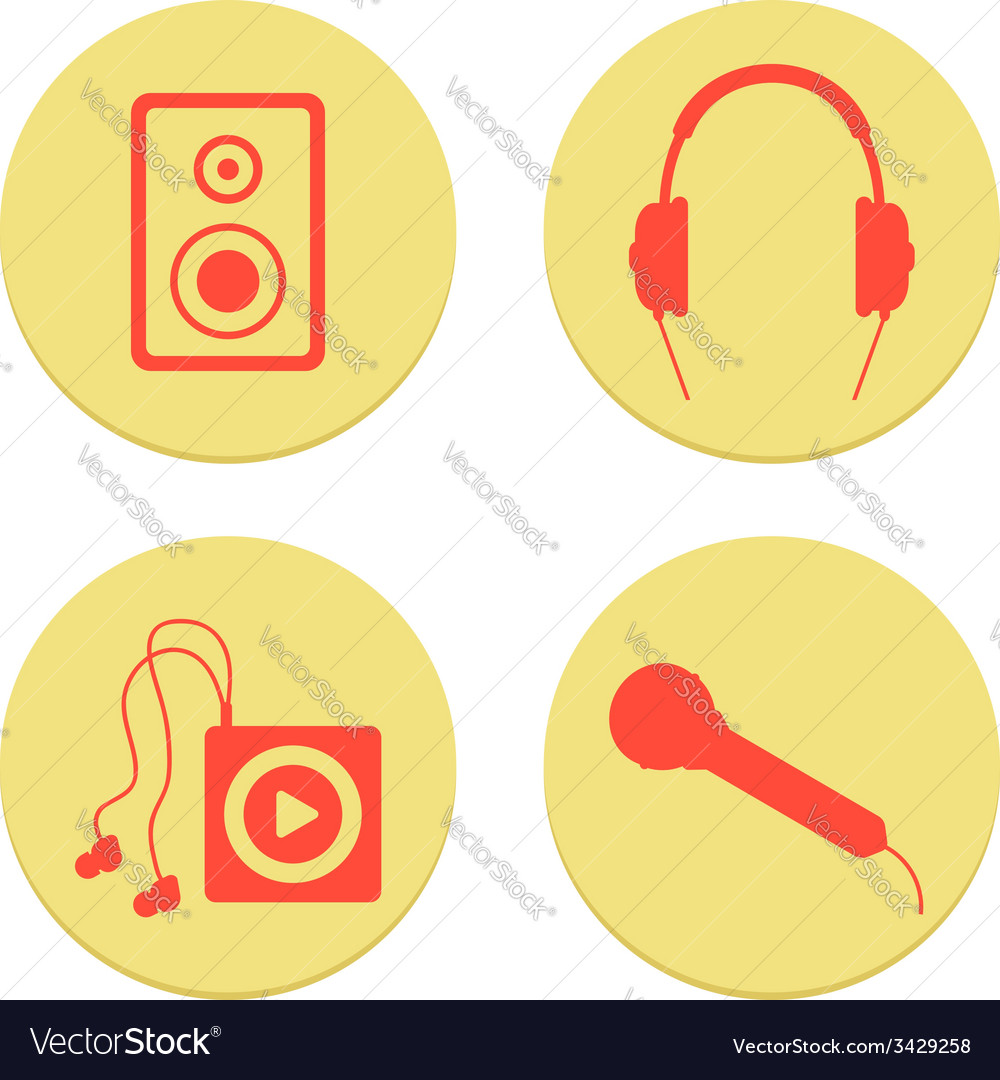 Flat musical icons set on white background vector | Price: 1 Credit (USD $1)