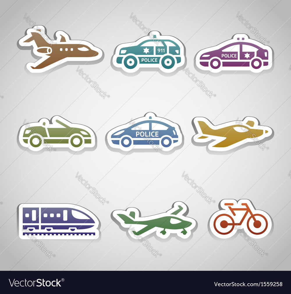 Flat retro color stickers - set one vector | Price: 1 Credit (USD $1)