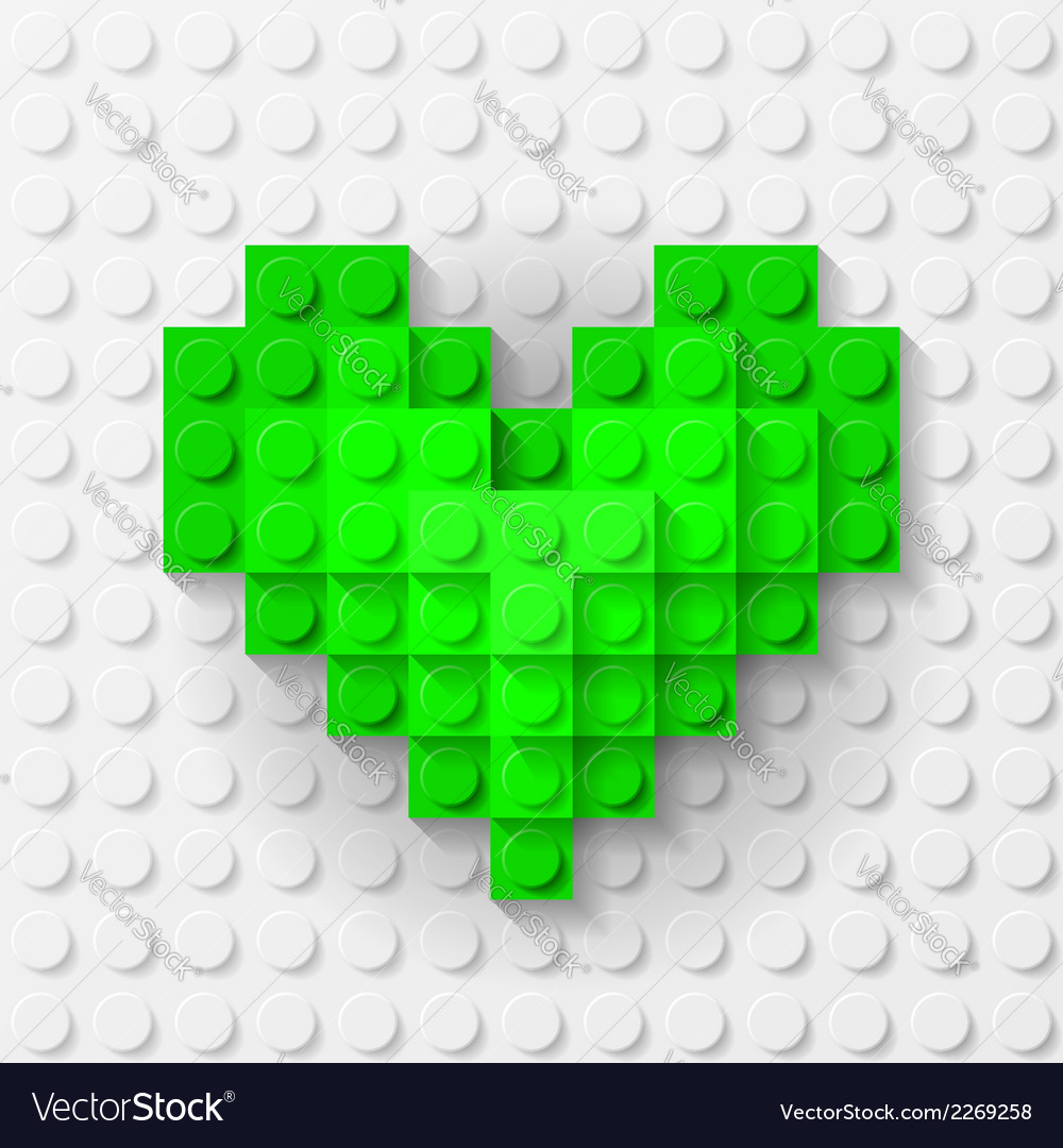 Green heart made of construction kit vector | Price: 1 Credit (USD $1)