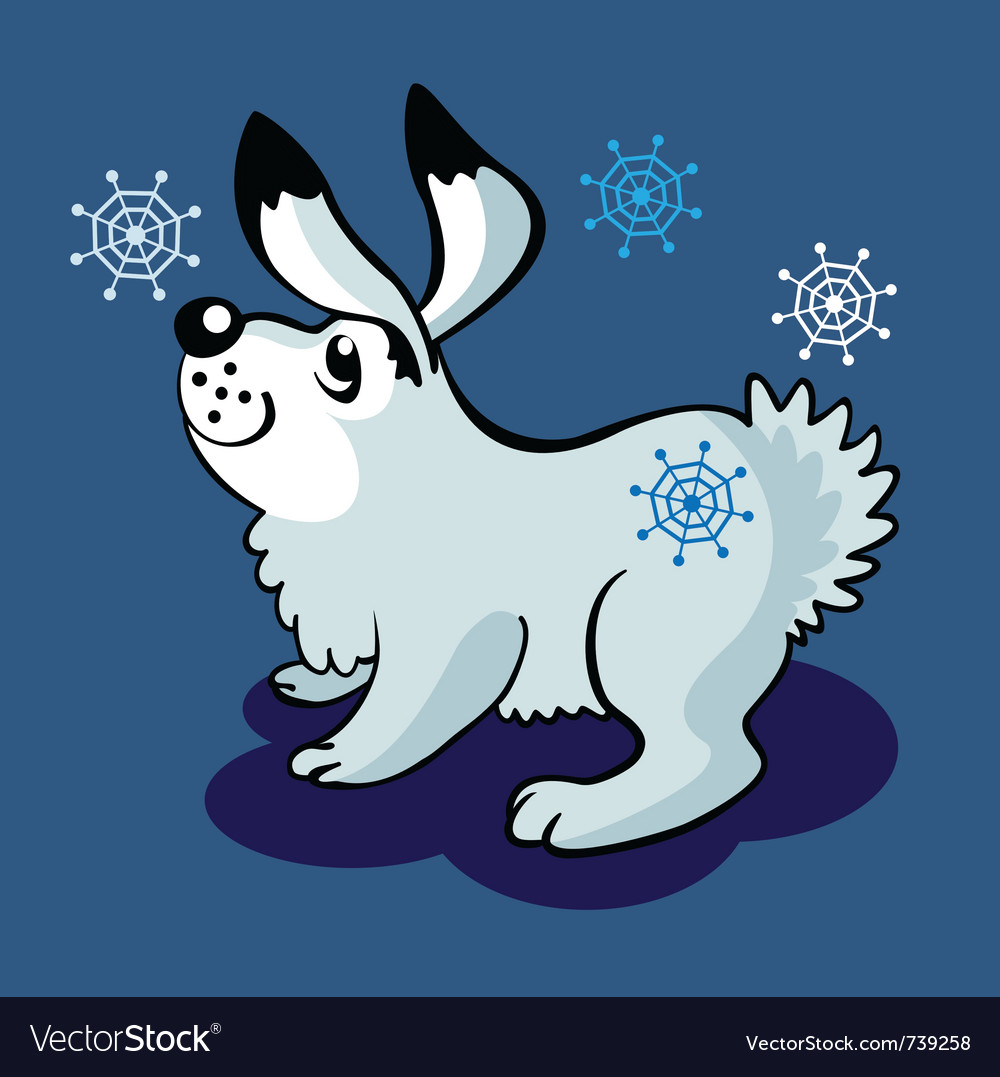 Hare and snowflakes vector | Price: 3 Credit (USD $3)