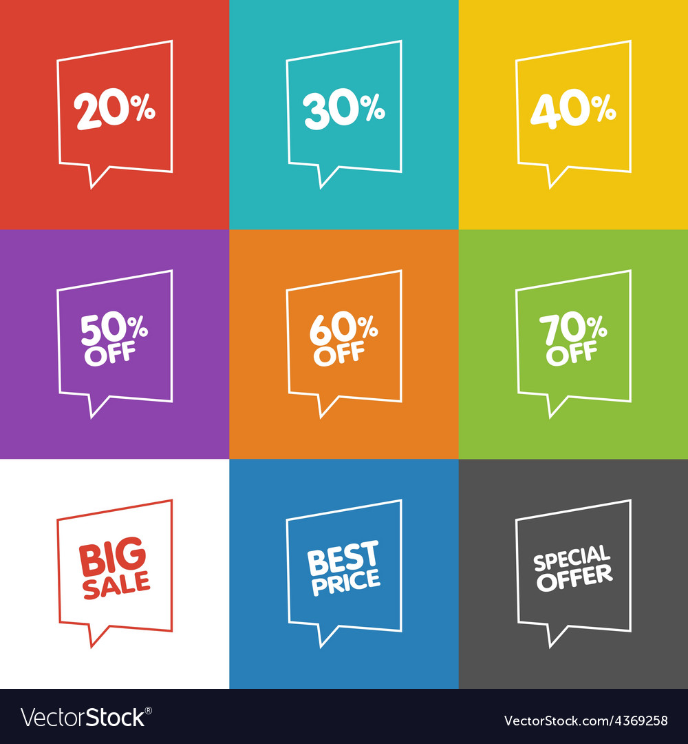 Line discount labels vector | Price: 1 Credit (USD $1)
